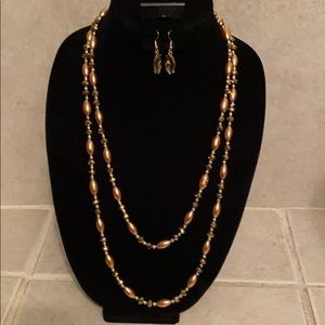 Jewelry - Bronze and Gold Wrap Necklace with Earrings